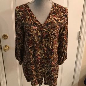 Art And Soul Womens Multicolored Button Down Top